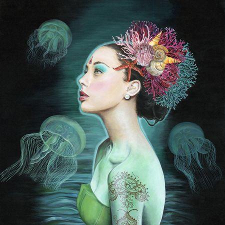 Melissa  Hartley Océane - 2013 Acrylic on gesso board 50 x 50 cm