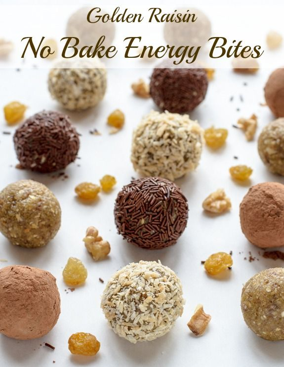No Bake Energy Bites made with golden raisins and walnuts. Perfect for a healthy snack or dessert.