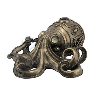 Steampunk+Octopus+Box+-+Cool+and+creepy,+all+at+the+same+time.+For+cyber-punks+and+steampunk+aficionados+this+sculpture+will+make+the+perfect+gift.+++Hidden+trinket+drawer+in+back+is+perfect+for+small+treasures+and+tokens.+Made+of+poly+stone+resin+which+is+then+carefully+hand+painted+with+careful+attention+to+detail.+++10+3/4''+L