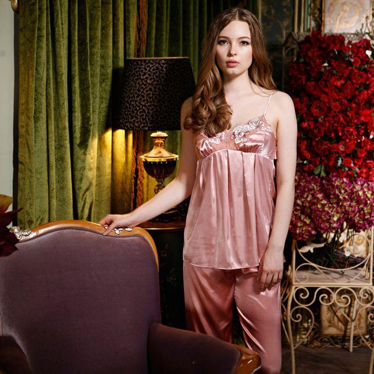 High Quality 2016 New Arrivals Silk Pajamas for Women Strap Pijama for Women Pyjamas Women Sleepwear Women's Pajamas Three-piece