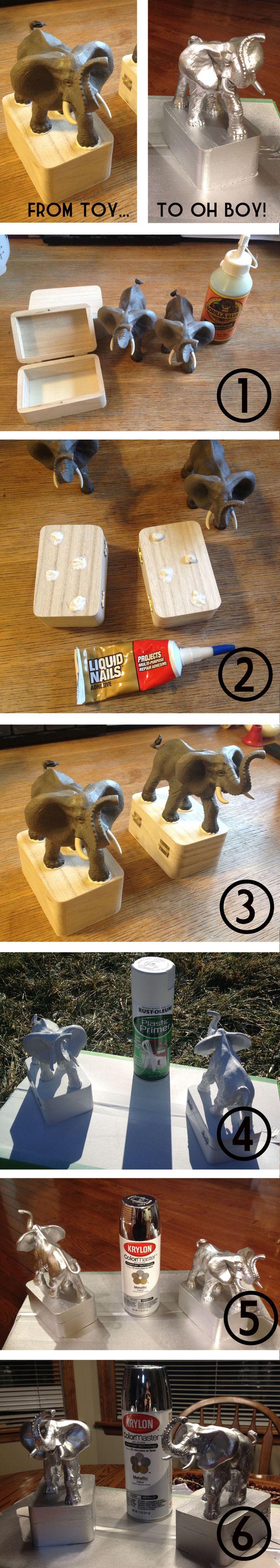 Plastic Toy Animals, Wooden Tirinket Boxes, Liquid Nails, Plastic Primer, & Krylon Metallic Spray Paint.  Voila!  Chic bookends for $10