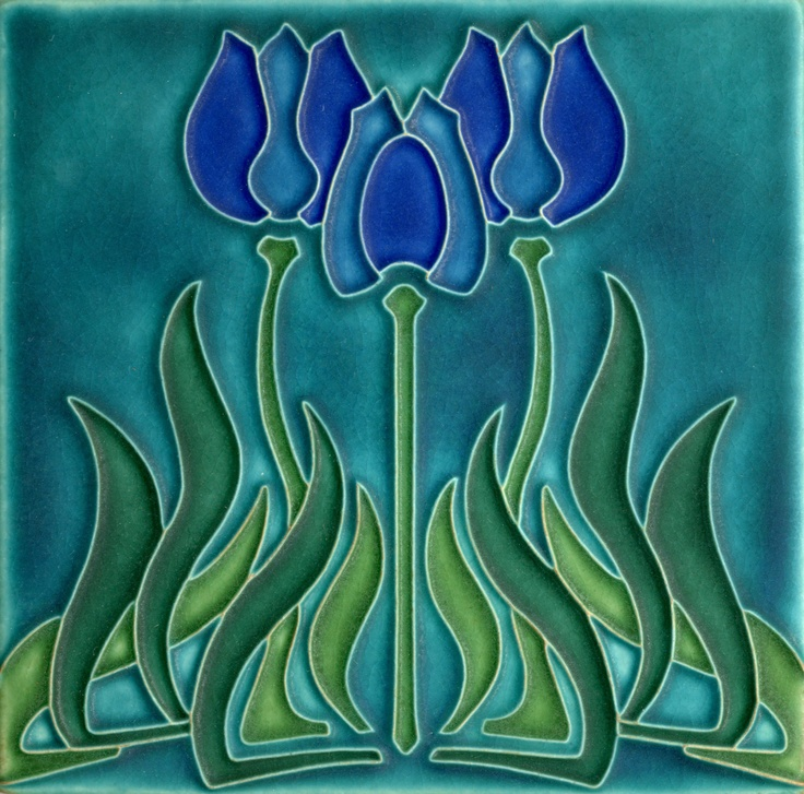 6x6 Tulips in Violet by Motawi Tileworks
