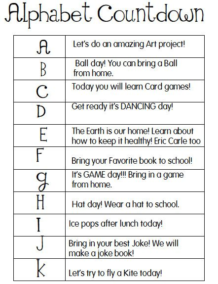 Alphabet Countdown for the last 26 days of school. Fun activities to do each day of the alphabet.