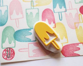 ice cream stamp. hand carved ice cream cone rubber by talktothesun