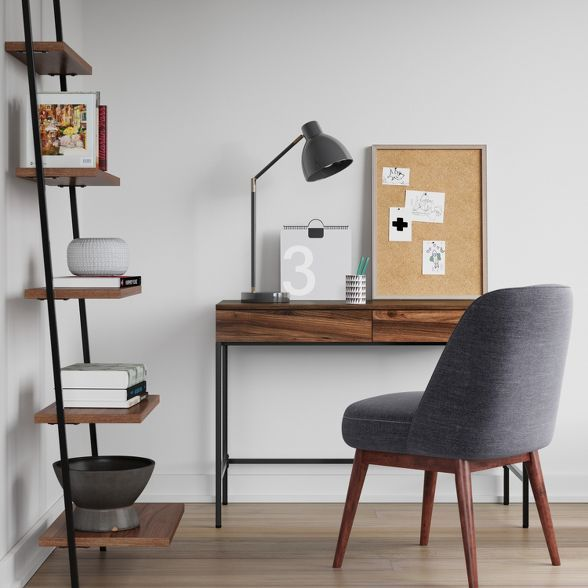 Loring Wood Writing Desk With Drawers Project 62 In 2020 Leaning Bookcase Writing Desk With Drawers Wood Writing Desk