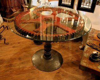 Projects Idea Of Steampunk Dining Table. We bought an awesome Old wooden Gear with Iron banding and detail  weekend project to get a stand made glass cut Red Industrial Table 10 best Tables images on Pinterest Coffee tables