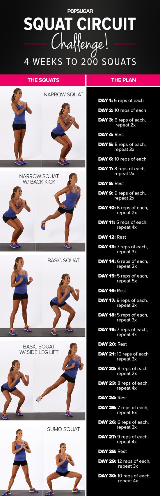 Give your gams some love with this 4-week squat challenge.