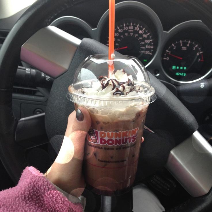 Dunkin Donuts iced mocha caramel latte Dunkin donuts