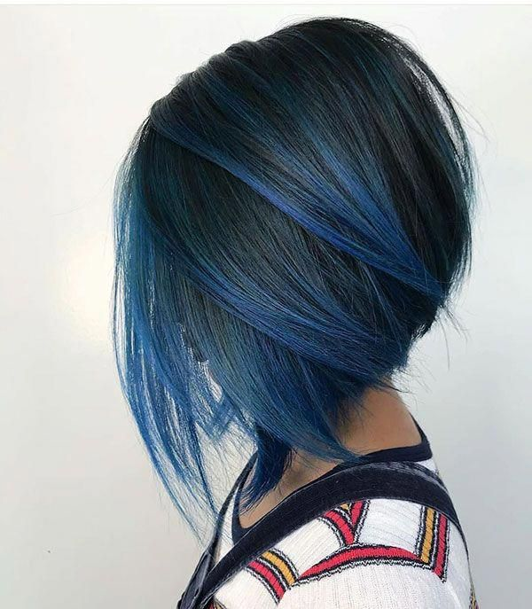 Bob Hairstyle With Blue Highlights Longbobhairstyles Bobs Haircuts Bob Hairstyles Short Hair Styles