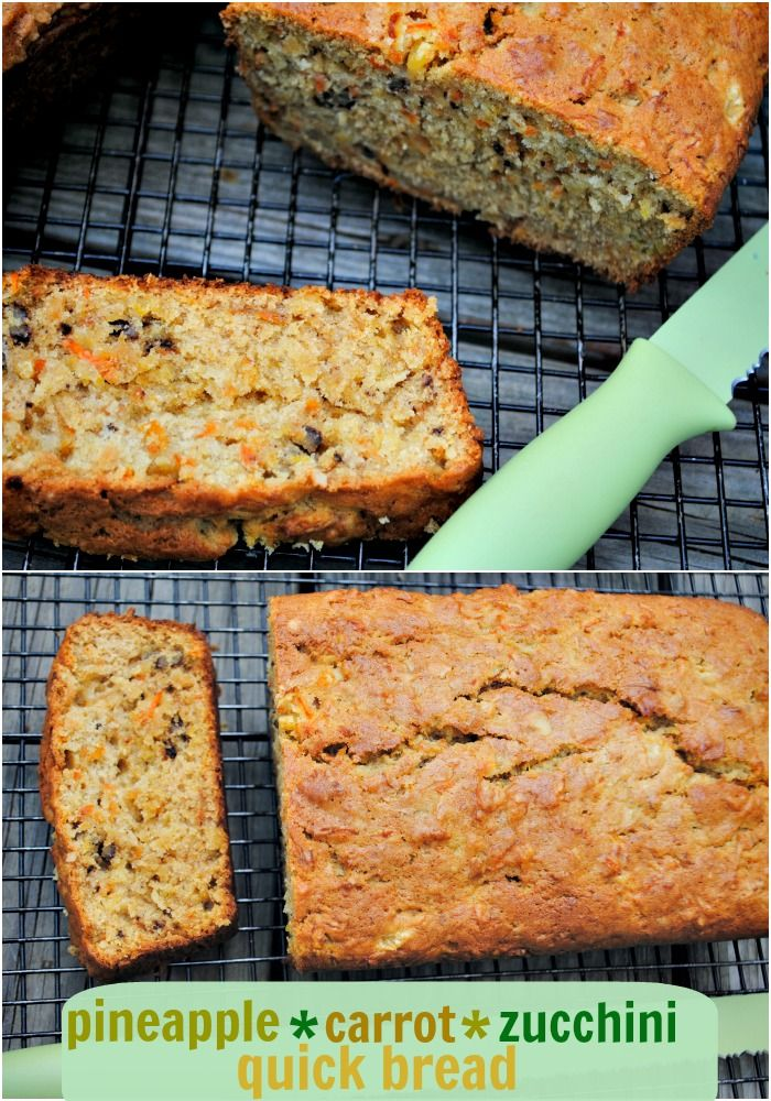 Pineapple, Carrot Zucchini quick bread recipe...makes TWO delicious loaves!