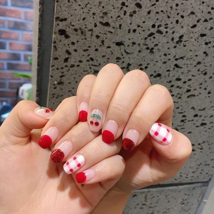 Korean Nail Style #체리네일 #Cherry #Nail(Akiwarinda)