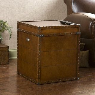 @Overstock.com - Steamer Walnut Finish Trunk End Table - Crafted with a replicated antique look, this end table is ideal as a decorative accent and also serves as a trunk for convenient storage. The rich walnut finish is adorned with antique brass rivets along the trim for classic style.   http://www.overstock.com/Home-Garden/Steamer-Walnut-Finish-Trunk-End-Table/4851744/product.html?CID=214117 $149.69