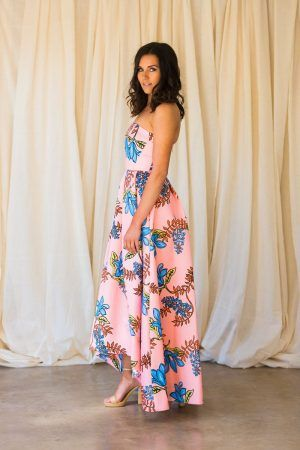 PINKO HASKY - LONG DRESS WITH A FLORAL DESIGN
