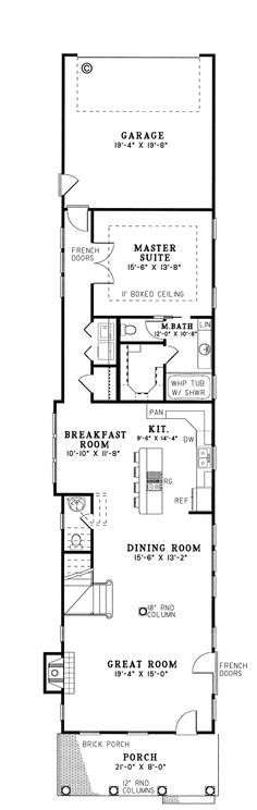 First Floor Plan of Colonial Narrow Lot Southern Vacation House Plan 61061