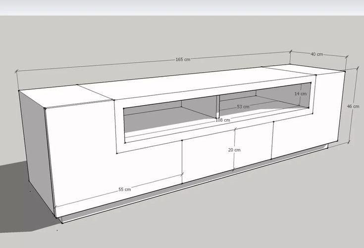 mueble de tv moderno de 165 cm en madera lacada ref livo 3.0
