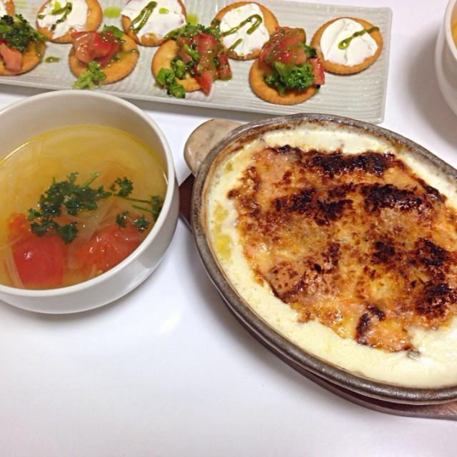 オン・ザ・リッツ♪ - 12件のもぐもぐ - カナッペ、ポテトグラタン、トマトスープ by yutae