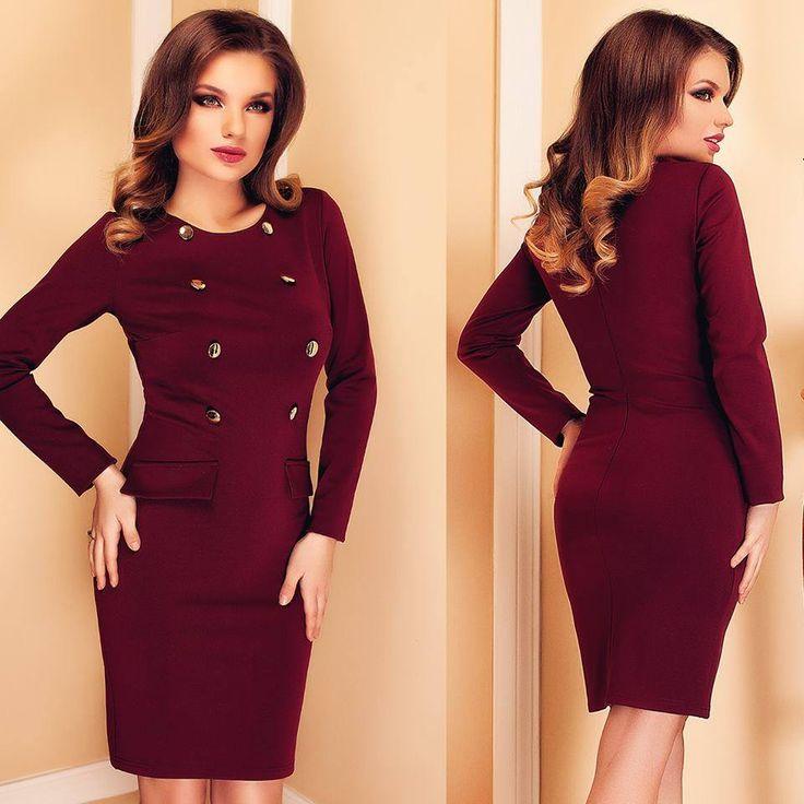 Short elegant dress on sale in marsala shades, with gold buttons: https://missgrey.org/en/dresses/short-office-dress-burgundy-shades-with-gold-buttons-sophie/475?utm_campaign=mai&utm_medium=rochie_sophie_bordo&utm_source=pinterest_produs