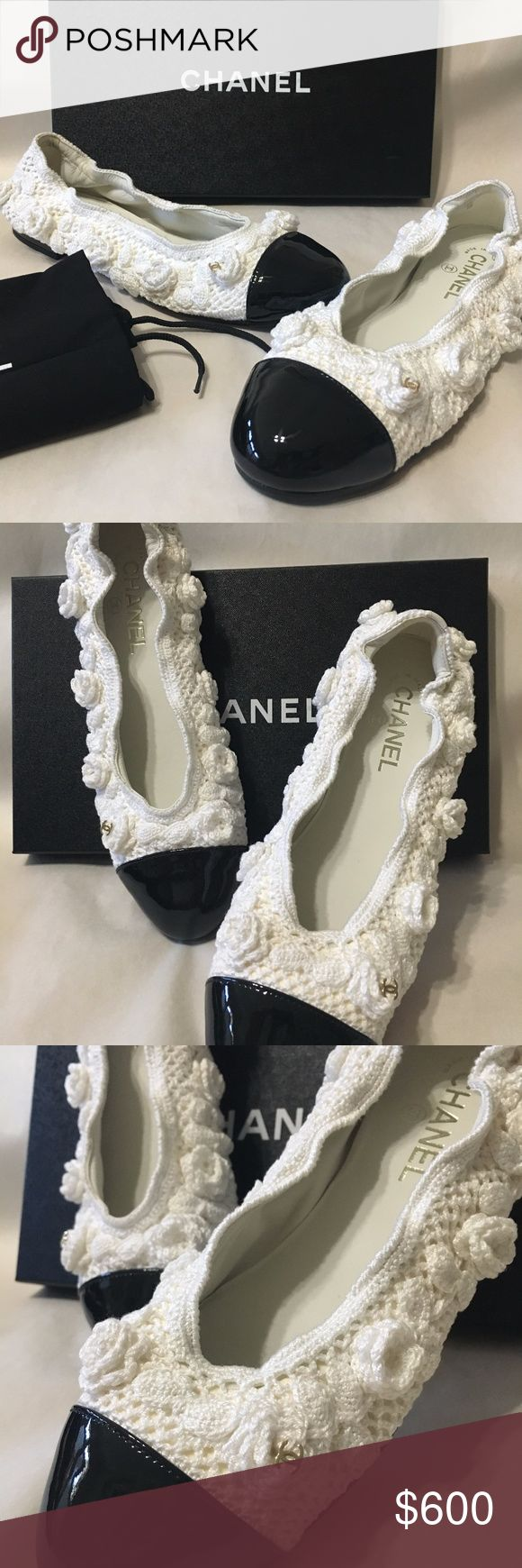 CHANEL 17C Camellia Crochet Flats 39.5 Brand New in Box  2017 Chanel Collection   17C   Size: 39.5  Comes with dustbags and box retail $875+tax  White/Black  Patent Leather/Crochet  Ballerina Flats  CC Captoe  Stretch  100% Authentic or your money back CHANEL Shoes Flats & Loafers