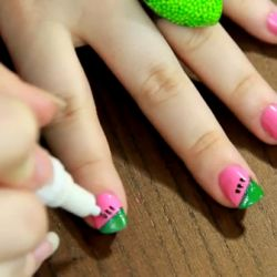 watermelon nailsNails Trends, Nails Art, Nails Watermelon, Awesome Nails, Fun Stuff, Funny Pin, Simple Girly Nails, Easy Summer Makeup, Watermelon Nails
