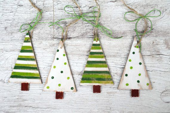 Wooden Christmas ornaments handmade, rustic Christmas decoration, family gift, set of 4 trees