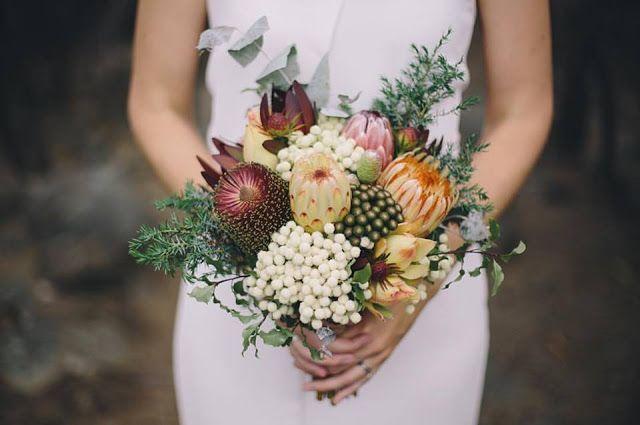 Swallows Nest Farm: weddings  Banksia, Protea, Berzelia, Leucadendron   December Wedding