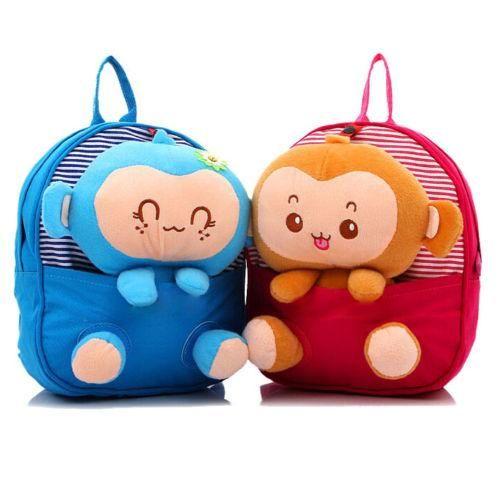 Kids Baby Toddlers Kids Cute 3D Monkey Little Backpack Plush Bag School Bag Hot