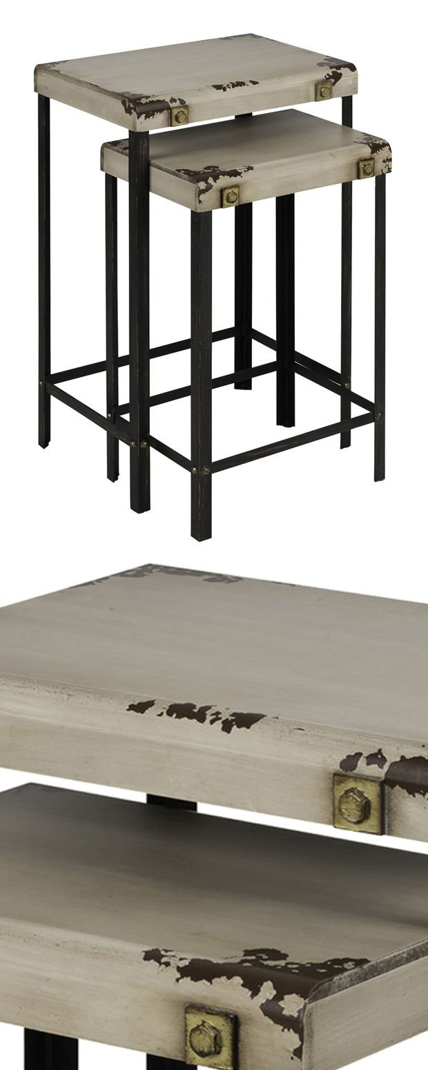 Can't you just picture this set of Steampunk Nesting Tables in a sparsely decorated living space from the early 20th century? Made from metal and finished with rustic and distressed accents, this set d...  Find the Steampunk Nesting Table - Set of 2, as seen in the In the Shadows of Industrial Style Collection at http://dotandbo.com/collections/in-the-shadows-of-industrial-style?utm_source=pinterest&utm_medium=organic&db_sku=115297