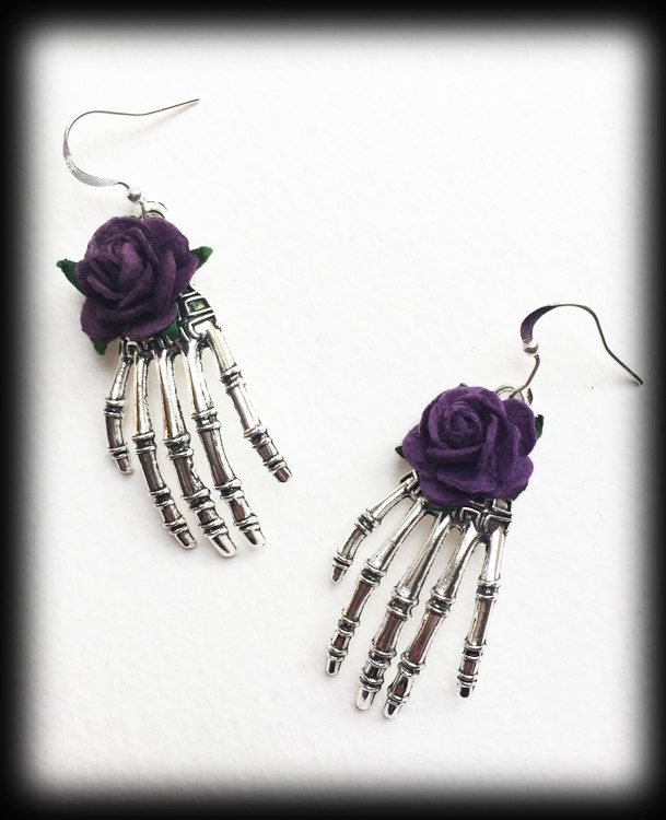 Gothic Earrings, Skeleton Hands, Purple Roses, Antique Silver, Alternative Jewelry, Gothic Gift, Handmade Earrings, Halloween Jewelry by WhisperToTheMoon on Etsy