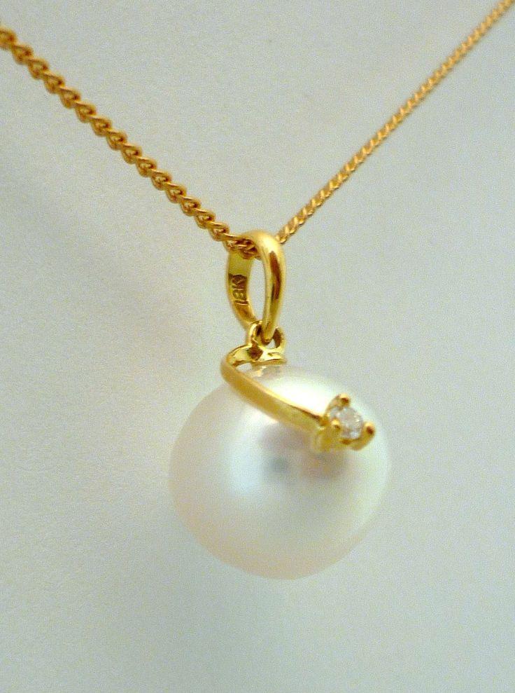 18 karat South Sea Pearl with a diamond #south-sea_pearl #pearl #diamond #gold