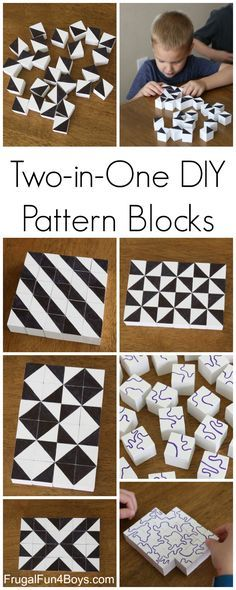 DIY Pattern Building Blocks:  An Awesome STEM Activity for Kids. Explore lines, shapes, and patterns by building with the blocks. Fun for any age - even big kids and parents!