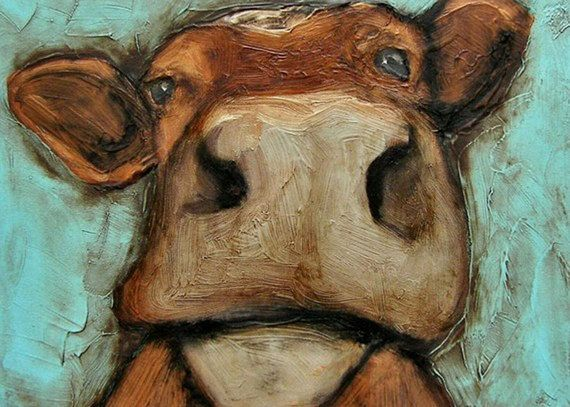 "You need this print! (5 x 7 IN - ""The Cownt"" - Cow Farm Folk Art Giclee print from my original painting)"