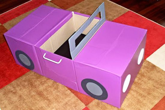 Play car from a cardboard box- to build for hanging from chandeliers