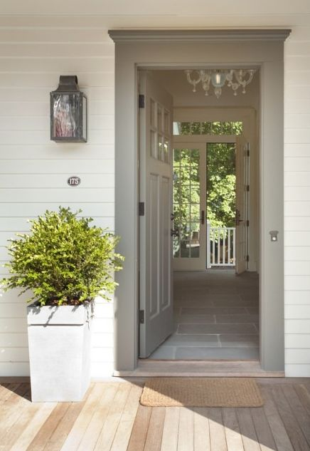 Parkdale Ave.: Coastal Glamour...gray door, lantern sconce