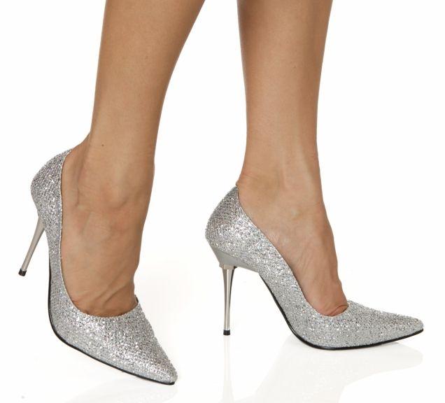 The Highest Heel Shoes Glitzee Silver Glitter