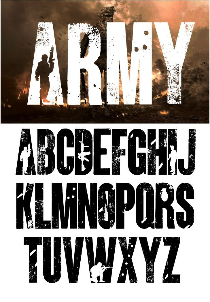 Army font and Joker font in one font / open type font