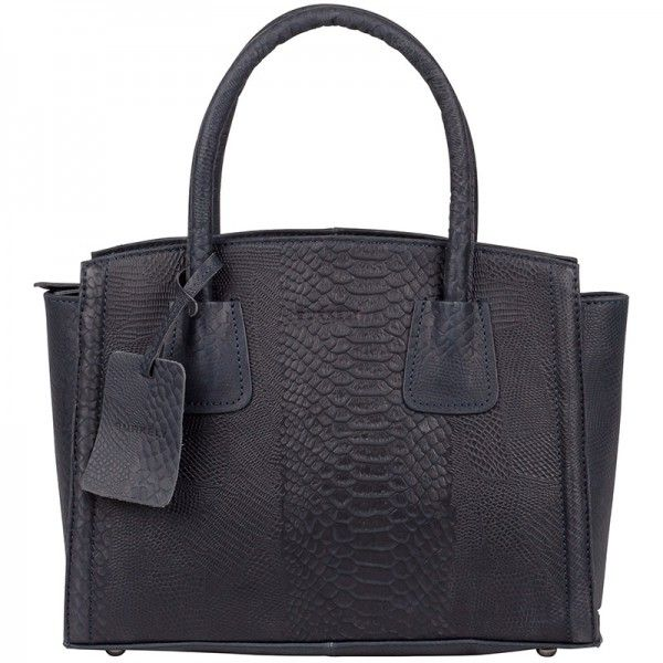 Mooie damestas, Burkely Filippa Anaconda Handtas 740166 Jeans. #handbag #burkely #tas #damestas #blauw #blue