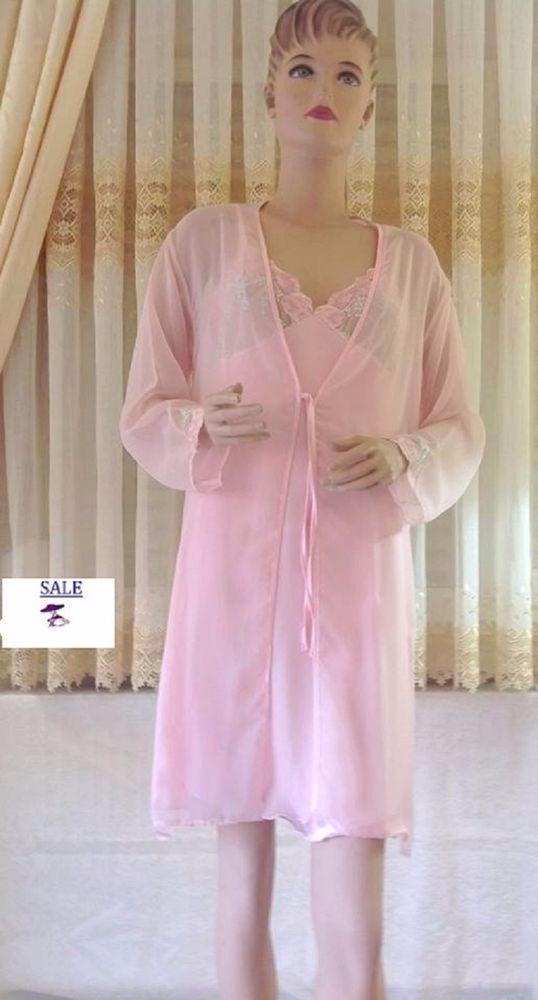 Sexy transparent Morgenmantel  nachthemd Rosa Satin Tüll / GR.: 38/40