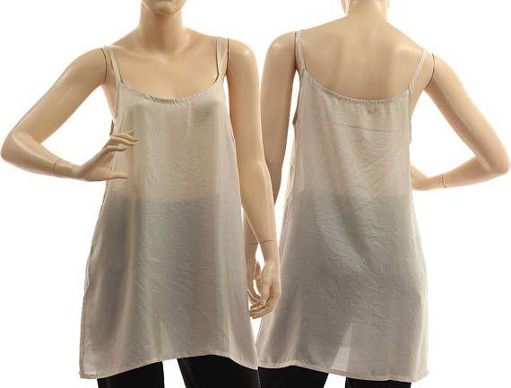 Grey silk slip top silk strappy tank top grey silk lingerie