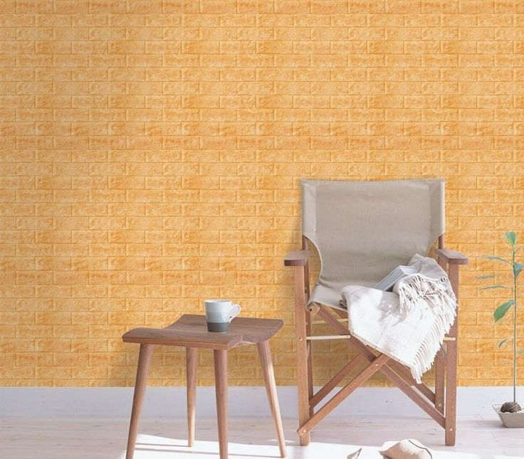 Luxury 3D Brick Wall Textured Foam Wallpaper, 71x78cm Large 5 Sheets Orange #INDESIGN