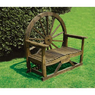 LOVE this rustic wagon wheel bench-perfect for the FEEL lodge!