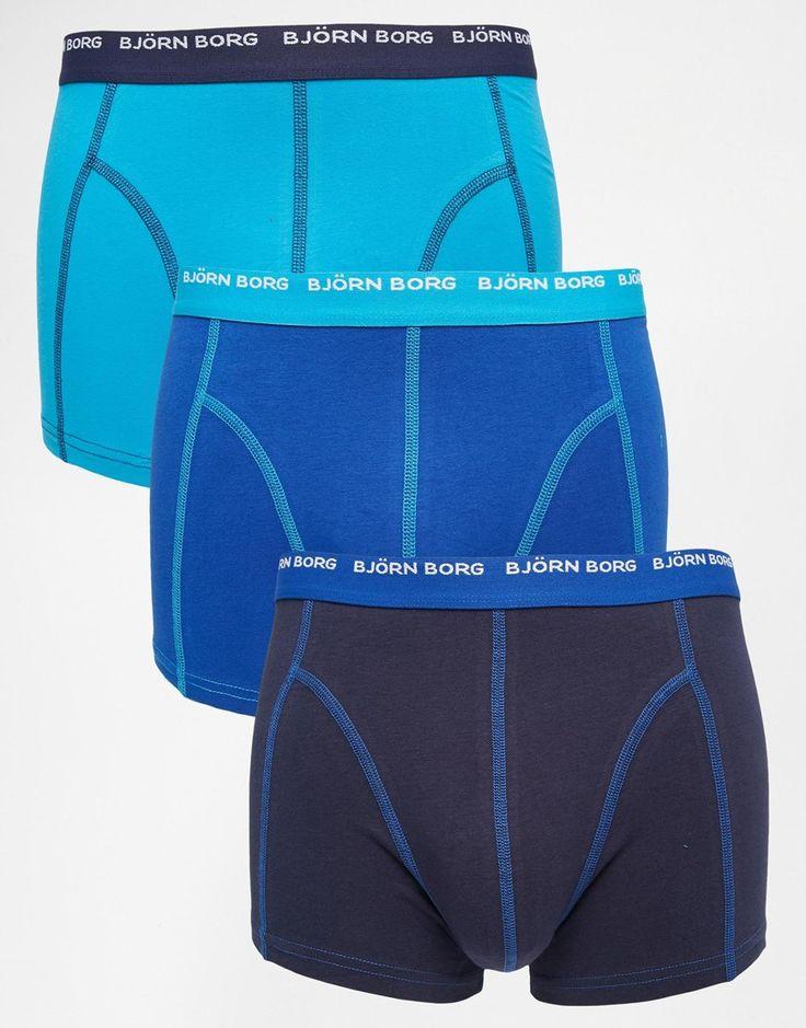 Herrenslip im Set von Björn Borg elastischer Jersey Logoschriftzug am Bund figurbetontes Design Maschinenwäsche 95% Baumwolle, 5% Elastan Dreierset