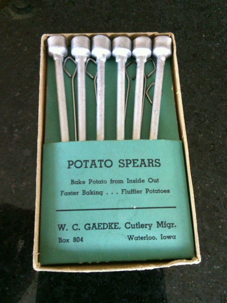 Vintage Box 6 Aluminum Potato Spears Gaedke Cutlery Baking Utensil Bake Kitchen | eBay