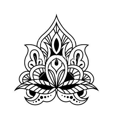 Bold black and white floral persian design vector by Seamartini on VectorStock®