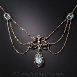 Antique Aquamarine Necklace - Edwardian Jewelry - Vintage Jewelry