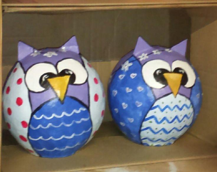 Paper mache owls. Piggy bank By Willemien Nieuwoudt