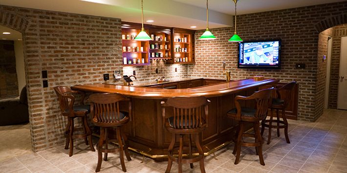 stratford thin brick in this finished basement bar area with over