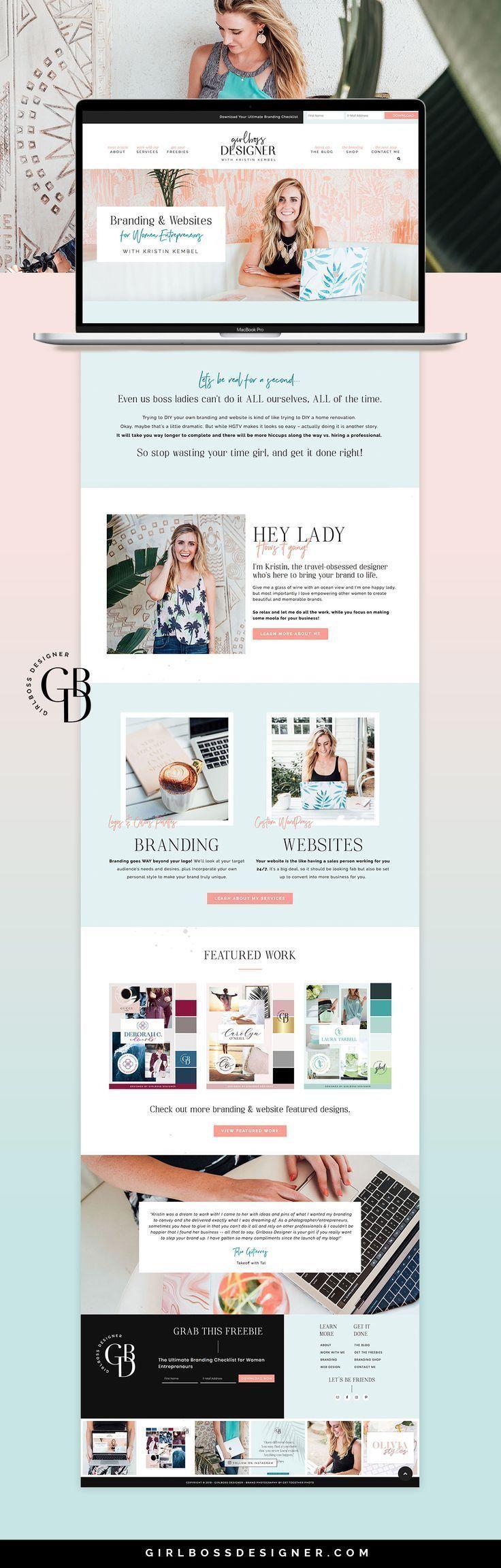 Feminine Wordpress Websites For Female Feminine Wordpress Websites For Female Entrepreneurs By Girlboss Des Web Layout Design Web Development Design Web Design