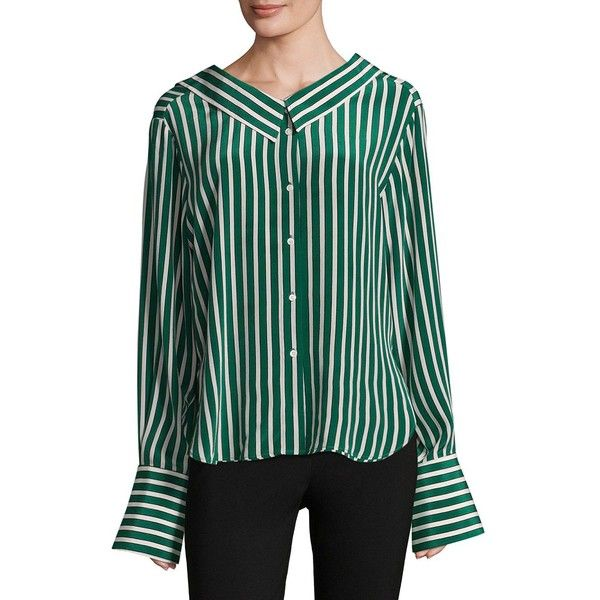 Robert Rodriguez Striped Silk Shirt ($295) ❤ liked on Polyvore featuring tops, striped top, collared shirt, long sleeve tops, striped long sleeve top and stripe top