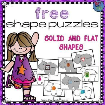 FREE Shape Puzzles math center for practice and review of 3-Dimensional and 2-Dimensional shapes. There are 8 self-checking puzzles included. They are super cute and make a great math work station! They are shaped like hippopotamuses and really engage students. The puzzles can be used with the whole class, small groups, or in centers. They also work great as homework or used for early finishers.