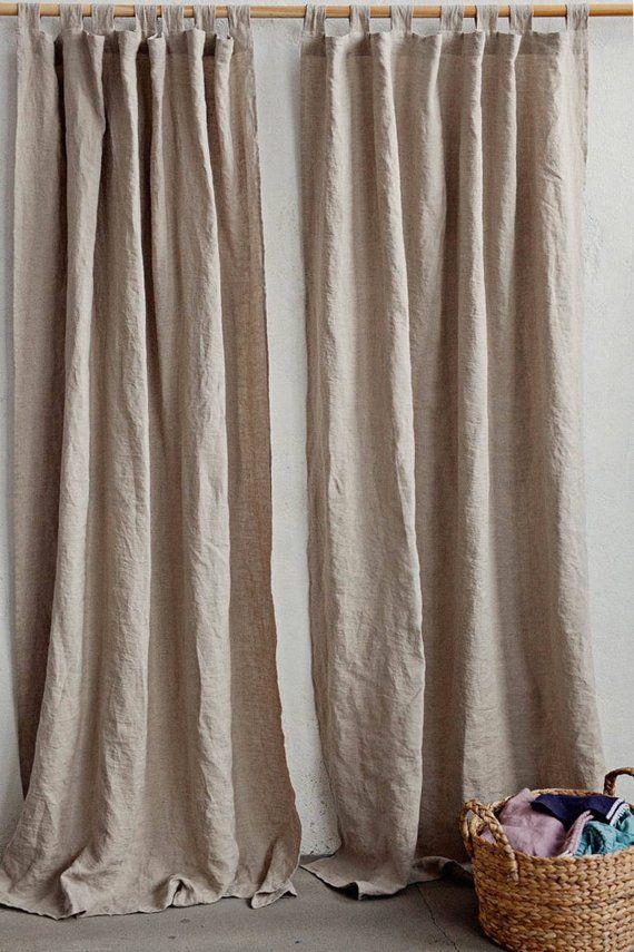 Tab Top Linen Curtain Panel Semi Sheer Window Or Door